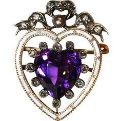 Sensational Antique Victorian amethyst, diamond and enamel heart pendant and brooch - circa 1870-1880