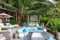 Tropical seating area with ocean view