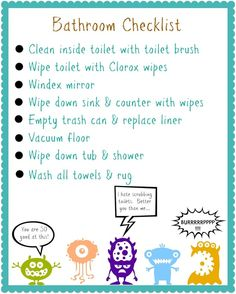 My Favorite Finds Organizing Contributor - FREE Kids Printable Chore Charts (cleaning charts) Chore Checklist, Chore List, Kids Checklist, Printable Chore Chart, Chore Chart Kids, Printable Tags, Free Printables, Bathroom Cleaning Checklist, Cleaning Schedules
