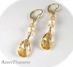 Champagne Bridal Wedding Earrings Swarovski by AzureTreasures, $38.00