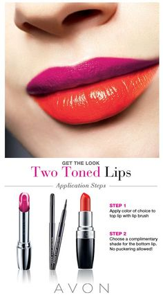 Get this hot look Two Toned Lips only at Avon can you get these awesome looks!! Shop online today at www.youravon.com/my1724 or by clicking on the pin!! Find your perfect shade today make a difference!!