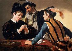 Les joueurs de cartes, vers 1594, Caravage, (Forth Worth – Texas, Kimbell Art Museum). Avec ce tableau, le Caravage introduit une nouvelle forme de peinture de genre qui contient un clair message moral, dont il aura une grande acceptation entre les caravagistes.