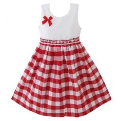 TPJR Girl White  Red Cotton Lattice Sleeveless Princess Pageant Bodice Dress