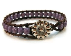 Lavender Leather Wrap Bracelet with Light Purple Czech Beads/ Flower Girl/ Daisy/ Boho Spring Easter Chic/ Free Shipping