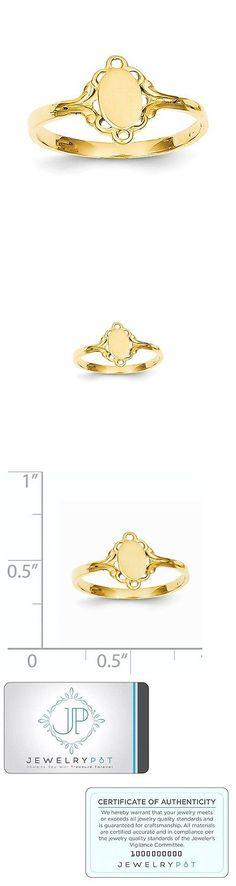 Rings 98477: 14K Yellow Gold Engravable Childs Filigree Oval Polished Center Baby Signet Ring BUY IT NOW ONLY: $53.99