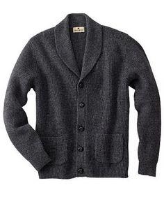 \\ Woolrich Shaker Cardigan - charcoal grey