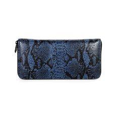 Portolano Python Zip Wallet from LittleBlackBag.com  Dusty blue/Black:: Wallet:: Zip:: Python