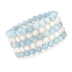 9a3c00fc0 8mm Pearl and Aquamarine Stretch Bracelet. Adjustable Size Birth Flowers,  Aqua Marine, Stretch