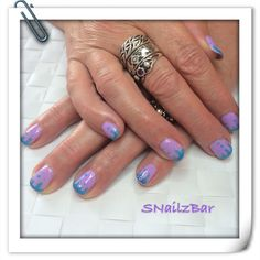 Lavender shellac with colour change PerfectMatch ink drips
