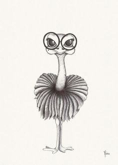 Ostrich Illustration black and white poster - Diy Kunst Really Cool Drawings, Cute Easy Drawings, Cool Art Drawings, Art Drawings Sketches, Cartoon Drawings, Drawing Ideas, Art Drawings Beautiful, Pencil Art Drawings, Animal Drawings
