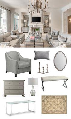 An elegant, traditional gray living room.