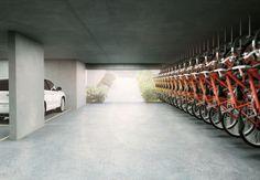 MAIS VAGAS. Perspectiva ilustrada de um estacionamento com a garagem destinada às bicicletas. Além de atender à lei, a novidade se tornou uma ferramenta para estimular as vendas (Foto: Divulgação)
