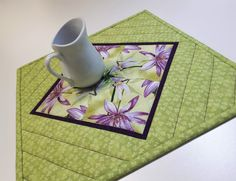 "Quilted Kaleidoscope Candle Mat, Floral Mug Mat, Dragonflies and Waterlilies Plant Mat, Green and Purple Mini Quilt, 11.5""x11.5"" by VillageQuilts on Etsy Dark Wood Dining Table, Glass Porch, Quilted Table Runners, Mug Rugs, Dragonflies, Machine Quilting, Green And Purple, Candle, My Etsy Shop"