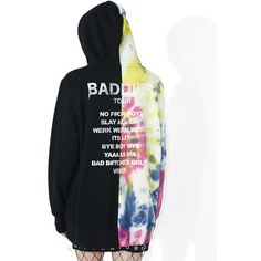 Civil Clothing Baddies Tour Tie-Dye Pullover ($70) ❤ liked on Polyvore featuring tops, tie die tops, sweater pullover, white top, pullover top and graphic tops