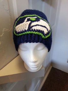 Seahawk inspired beanie.   Contact me for custom order