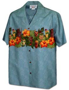 96d48b100ee87 Hibiscus Tiki Pineapple Blue Cotton Men s Border Hawaiian Shirt