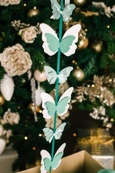 Гирлянда из бабочек цвета тиффани | Clear big balloons with tassel garland new year eve party