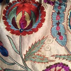 Silk embroidery detail from Buxoro