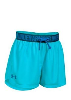 Under Armour Girls' Solid Play Up Shorts Girls 7-16 - Venetian Blue - L
