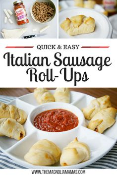 Italian Sausage Roll-Ups recipe. Quick and easy appetizer recipe. Perfect appetizer for game days and parties.