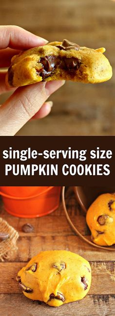 Small batch single-serving size pumpkin chocolate-chip cookies. One commenter said I have eaten (and baked) lots of cookies in my life, but these…are the BEST cookies EVER