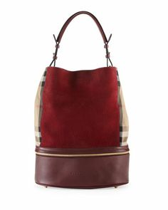 Leather & Check Canvas Bucket Bag, Deep Claret by Burberry at Neiman Marcus.