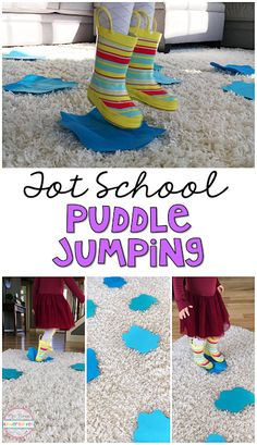 Get moving with this indoor puddle jumping gross motor activity. Perfect for tot school, preschool, or the kindergarten classroom. (spring craft for toddlers letters) Toddler School, Tot School, Toddler Teacher, Toddler Classroom, Toddler Fun, Infant Toddler, Karneval Themen, Sistema Vestibular, Preschool Lessons