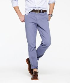 Cotton chinos by J.Crew.--I have this in a dark brown and it is seriously my go-to pairs.