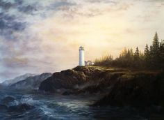 """""""Lighthouse Sunrise"""" by Kevin Hill  Check out my channel on YouTube: KevinOilPainting  Check out my website: www.paintwithkevin.com"""