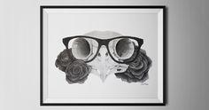 "Owl Skull & Roses Tattoo Design. ""The wise one""  Facebook: S.T Illustrations Society6.com/samthorpe"