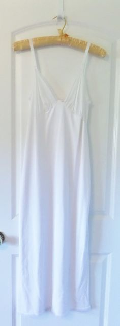 LeVoys Slip Gown Slip Double Vintage White Layer Nylon
