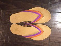 "Diana Warner ""Gibby"" sandal in orange and purple"