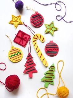 Stitched paper ornaments