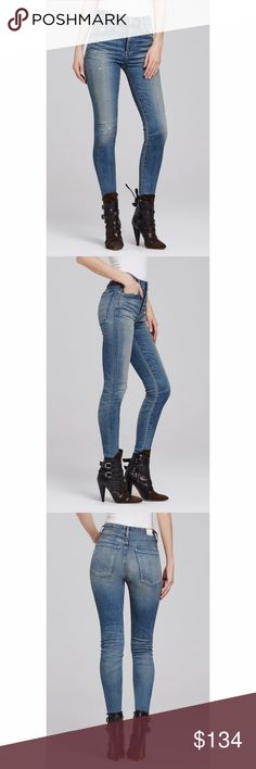 "Citizens of Humanity Carlie High Rise Skinny Jeans These are the Miramar color. Elegant, high-waisted and crafted from our signature stretch denim, our Carlie skinny jeans offer a smartly contoured silhouette and feel like a second-skin. Dress the look up with blouse and heels, or down with sneakers and a slouchy sweater.                                             High Rise Skinny Content: 90%Cotton / 8%Polyester / 2%Polyurethane Stretchy Rise: 10 ½"" Inseam: 31 ½"" Leg Opening: 11"" Citizens…"