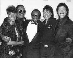 Dionne Warwick (from left), Stevie Wonder, Quincy Jones, Michael Jackson and Lionel Ritchie