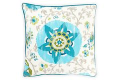 Petals 26x26 Outdoor Pillow, Blue on One Kings Lane