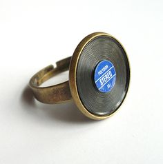 Mini Record Ring, Music Jewelry.