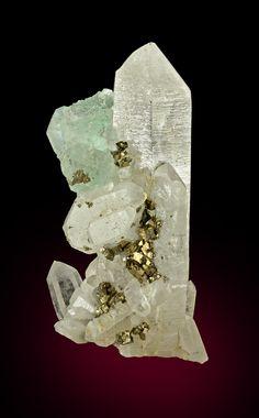 + Fluorite with Quartz, Pyrite