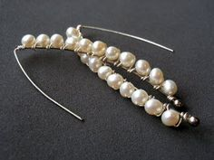 Long Freshwater Pearl Earrings #Pearls #Earrings