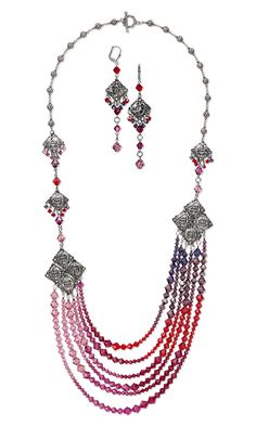 Jewelry Design - Multi-Strand Necklace and Earring Set with Swarovski Crystal and Gunmetal-Plated Steel Links - Fire Mountain Gems and Beads