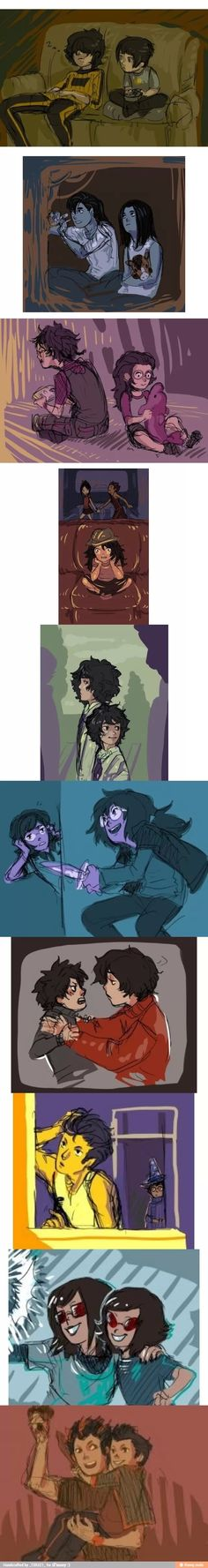 Ancestors and descendants, humanstuck. And how easy it would be to pass a pair of people like this in the library, on the bus, after some disaster.