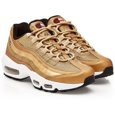 Nike Air Max 95 Metallic Gold Sneakers (€189) ❤ liked on Polyvore featuring shoes, sneakers, gold, golden sneakers, metallic sneakers, nike, nike shoes and gold sneakers