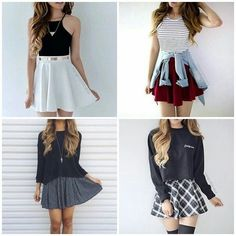 Read fotos -looks! Girly Outfits, Skirt Outfits, Fall Outfits, Summer Outfits, Casual Outfits, Teen Fashion, Korean Fashion, Fashion Outfits, Womens Fashion