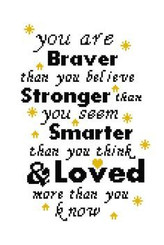 "Cross Stitch Patterns Winnie the Pooh Cross Stitch Sampler you by AlphabetCrossStitch - This is a cross stitch pattern for a modern sampler with a quote from Winnie the Pooh ""you are braver than you believer, Stronger than you seem, Smarter than you think Cross Stitch Samplers, Cross Stitch Charts, Cross Stitch Designs, Cross Stitching, Cross Stitch Embroidery, Embroidery Patterns, Baby Cross Stitch Patterns, Baby Embroidery, Cross Stitch Baby"