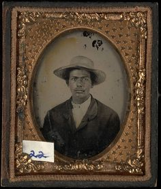 (c.1860) Portrait of a young Black man wearing straw hat.