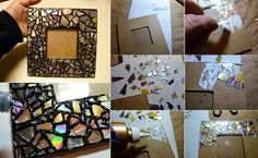 Detalles para Bodas hechos a mano. Marco para fotos hecho con cartón y trozos de Cd´s
