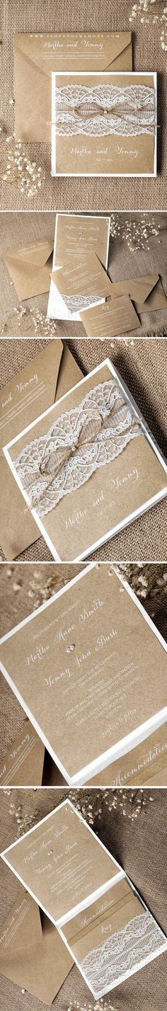 Lace Wedding Invitation - eco papers & white printing #countrywedding #rustic #handmade