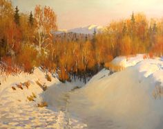 Por amor al arte: Yaroslav Zyablov Shadow Painting, Painting Snow, Winter Painting, Winter Art, Beautiful Landscape Paintings, Nature Paintings, Cool Paintings, Winter Landscape, Landscape Art