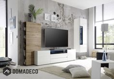 Browse modern and classic living room wall units for tv & entertainment center Living Room Wall Units, Design Living Room, Living Room Sets, Led Furniture, Cheap Furniture, Living Room Furniture, Cabinet Furniture, Entertainment Wall Units, Modern Wall Units