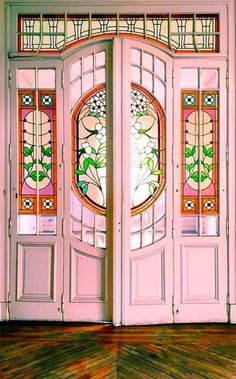 Pink door with stained glass doors entrance stained glass World Of Interiors, Entry Doors, Entrance, Chinoiserie, Unique Doors, Interior Exterior, Interior Livingroom, Interior Design, Interior Paint